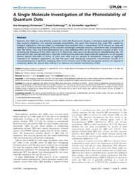 Plos One : a Single Molecule Investigati... by Sokolov, Igor