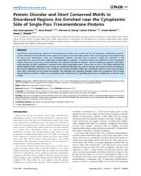 Plos One : Protein Disorder and Short Co... by Kim, Philip M.