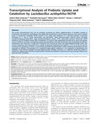 Plos One : Transcriptional Analysis of P... by Gibas, Cynthia