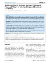 Plos One : Social Cognition in Anorexia ... by Avenanti, Alessio