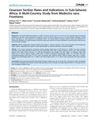 Plos One : Cesarean Section Rates and In... by Baradaran, Hamid Reza