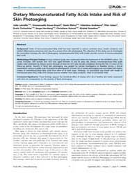 Plos One : Dietary Monounsaturated Fatty... by Soyer, H. Peter