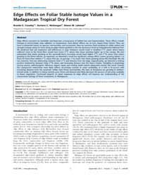 Plos One : Edge Effects on Foliar Stable... by Degryse, Patrick