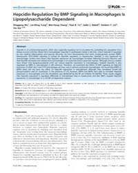 Plos One : Hepcidin Regulation by Bmp Si... by Huang, Yu