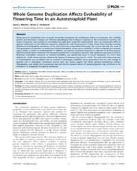 Plos One : Whole Genome Duplication Affe... by Singh, Nadia
