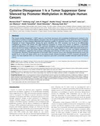Plos One : Cysteine Dioxygenase 1 is a T... by Wong, Chun-ming