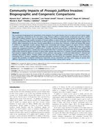 Plos One : Community Impacts of Prosopis... by Bello, Francesco De