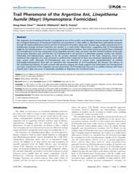 Plos One : Trail Pheromone of the Argent... by Renou, Michel