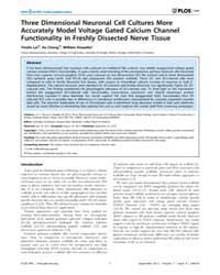 Plos One : Three Dimensional Neuronal Ce... by Cymbalyuk, Gennady