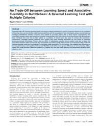 Plos One : No Trade-off Between Learning... by Dornhaus, Anna