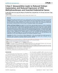 Plos One : 5-aza-29-deoxycytidine Leads ... by Agoulnik, Irina