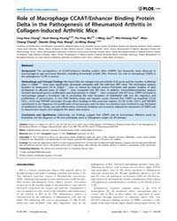 Plos One : Role of MacRophage Ccaat, Vol... by Aprikyan, Andranik Andrew