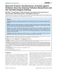 Plos One : Quercetin Protects Saccharomy... by Kowaltowski, Alicia J.