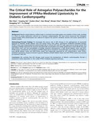 Plos One : the Critical Role of Astragal... by Peng, Tianqing