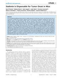 Plos One : Stathmin is Dispensable for T... by Deb, Swati Palit