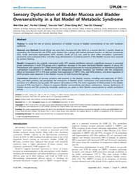 Plos One : Sensory Dysfunction of Bladde... by Bader, Michael