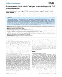 Plos One : Spontaneous Structural Change... by Aspenstrom, Pontus