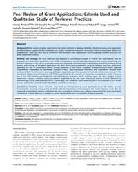 Plos One : Peer Review of Grant Applicat... by Gagnier, Joel, Joseph