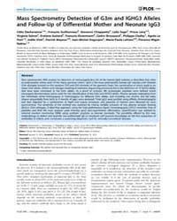 Plos One : Mass Spectrometry Detection o... by Denning, Patricia, Wei