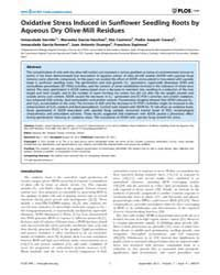 Plos One : Oxidative Stress Induced in S... by Wu, Keqiang