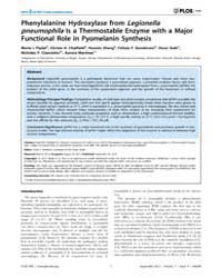 Plos One : Phenylalanine Hydroxylase fro... by Zamboni, Dario, S.