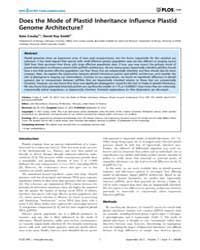 Plos One : Does the Mode of Plastid Inhe... by McCutcheon, John