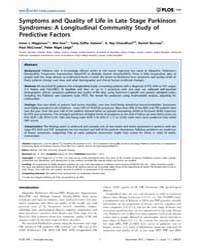 Plos One : Symptoms and Quality of Life ... by Toft, Mathias