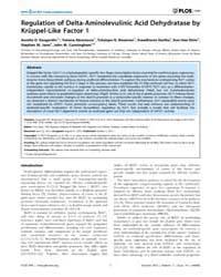 Plos One : Regulation of Delta-aminolevu... by Dean, Ann