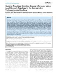 Plos One : Ranking Transitive Chemical-d... by Appanna, Vasu, D.