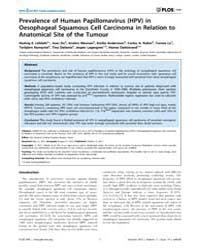 Plos One : Prevalence of Human Papilloma... by Deutsch, Eric