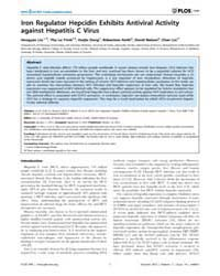 Plos One : Iron Regulator Hepcidin Exhib... by Li, Kui