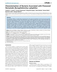 Plos One : Characterization of Bacteria ... by Arnold, Dawn