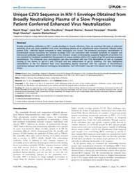 Plos One : Unique C2V3 Sequence in Hiv-1... by Johnson, Welkin, E.