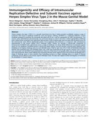 Plos One : Immunogenicity and Efficacy o... by Sawtell, Nancy, M.