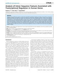 Plos One : Analysis of Intron Sequence F... by Nurminsky, Dmitry, I