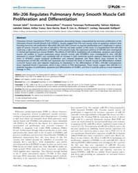 Plos One : Mir-206 Regulates Pulmonary A... by Gaetano, Carlo