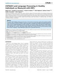 Plos One : Cntnap2 and Language Processi... by Whitehouse, Andrew