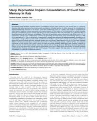 Plos One : Sleep Deprivation Impairs Con... by Kline, Anthony E.