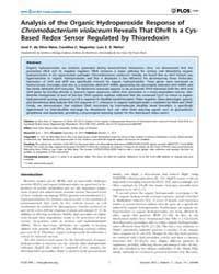 Plos One : Analysis of the Organic Hydro... by Rishi, Arun