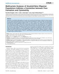 Plos One : Multivariate Analyses of Amyl... by Zheng, Jie