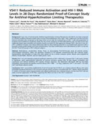 Plos One : Vs411 Reduced Immune Activati... by Landay, Alan