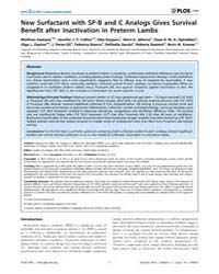 Plos One : New Surfactant with Sp-b and ... by Rogers, Lynette Kay