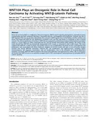 Plos One : Wnt10A Plays an Oncogenic Rol... by Gottardi, Cara