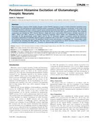 Plos One : Persistent Histamine Excitati... by Gallyas, Ferenc