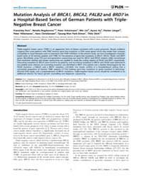Plos One : Mutation Analysis of Brca1, B... by Peterlongo, Paolo