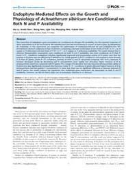 Plos One : Endophyte-mediated Effects on... by Kleunen, Mark Van
