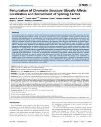 Plos One : Perturbation of Chromatin Str... by Tora, Laszlo