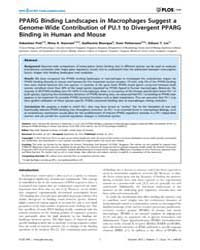 Plos One : Pparg Binding Landscapes in M... by Jothi, Raja