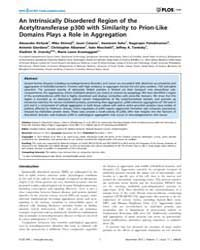 Plos One : an Intrinsically Disordered R... by Pastore, Annalisa