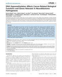 Plos One : Dna Hypomethylation Affects C... by Castresana, Javier, S.